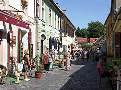 Cobbled medieval street with contemporary cafés and shops - Eger, Hungary