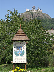 The plate of Füzér at the border of the village on the main road, in the distance the castle is already visible - Füzér, Hungary