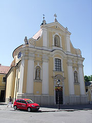 The main facade of the baroque style Carmelite Church - Győr, Hungary