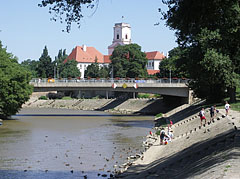 "The Rába Double Bridge (""Kettős híd"") over the Rába River, and the tower of the Episcopal Caste (""Püspökvár"") in the distance - Győr, Hungary"
