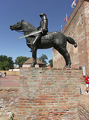 Bronze statue of a medieval horse soldier - Gyula, Hungary