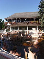 "The ""Octopus"" thermal pool with medicinal water, and the ""Riding Hall"" bath building behind it - Gyula, Hungary"