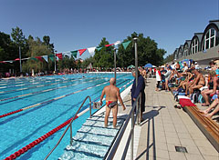 Competition swimming pool with stands in the bath - Gyula, Hungary