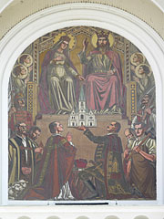 "Wall painting on the facade of the Cathedral of the Assumption of Mary (""Nagyboldogasszony-székesegyház"") - Kaposvár, Hungary"