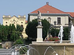 Statue of Saint John of Nepomuk, farther with the yellow building of the former priory - Kaposvár, Hungary