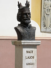Bust sculpture of Louis the Great (Louis I) King of Hungary, founder of Márianosztra settlement at the Pilgrim Church - Márianosztra, Hungary