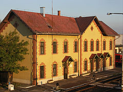The yellow older building of the Mátészalka Railway Station (today it is a railway history museum) - Mátészalka, Hungary