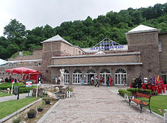 The park of the thermal bath and the bath house at the foot of the hill - Miskolc, Hungary