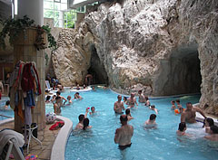 The indoor bath hall of the Cave Bath in Miskolctapolca, including the thermal water adventure pool and the entrances of the cave pools - Miskolc, Hungary