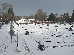 The snow-bound castle park viewed from the mansion - Nagycenk, Hungary