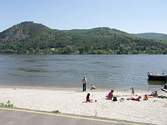 Sandy riverside, and on the other side of the river this is the Visegrád Mountains - Nagymaros, Hungary
