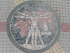 "The mosaic called ""Earth"" on the pavement (built in 1994) of the main square, at the City Hall - Nyíregyháza, Hungary"