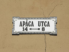 Street sign on a wall - Pécs, Hungary