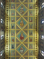 Pictures of apostles and saints on the coffered (or paneled) wooden ceiling - Pécs, Hungary