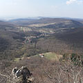"View from Fekete-kő (literally ""Black Rock"") towards Pilisszentlélek village - Pilis Mountains (Pilis hegység), Hungary"
