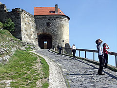 "The steep cobbled walkway leads to the entrance gatehouse (""gate tower"") - Sümeg, Hungary"