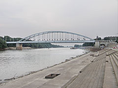 The Belvárosi Bridge (literally means Downtown Bridge or Inner City Bridge) over the Tisza River, and the quay - Szeged, Hungary