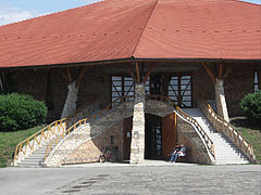 The entrance of the two-storey contemporary church - Szerencs, Hungary