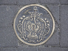 Coat of arms of Szolnok in the pavement, on a brass relief decoration - Szolnok, Hungary
