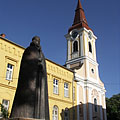 The Roman Catholic Assumption Church and the bronze statue of St. Stephen I. of Hungary - Tapolca, Hungary