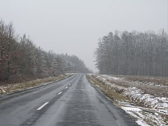 Spring snowfall on the main road - Velemér, Hungary
