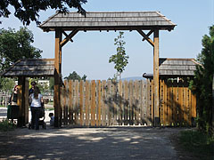 Wooden gate, that leads to the new enclosures at Gulya Hill - Veszprém, Hungary