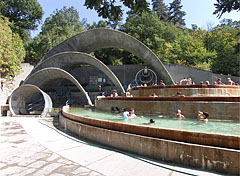 Real retro atmosphere at the terraced pools of Lepence thermal bath - Visegrád, Hungary