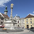 "Holy Trinity Column in the main square, in front of the Kecske Church (or literally ""Goat Church"") - Sopron, 헝가리"